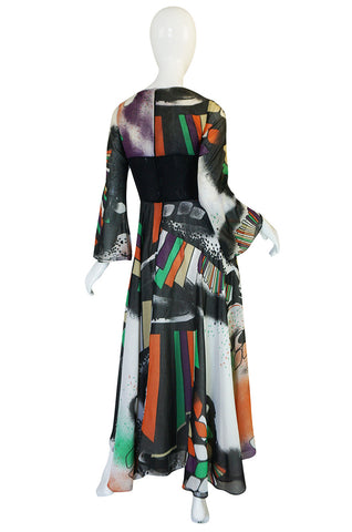 Museum Exhibited 1971 RTW Thea Porter Painted Print Dress