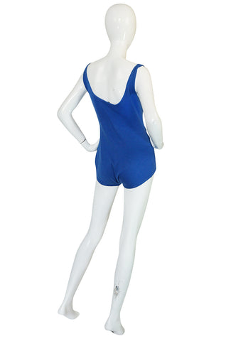 Documented 1953 Rudi Gernreich Blue Knit Bathing Suit
