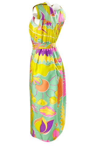 1960s Bessi Vivid Tropical Colors Printed Silk Twill Dress w Belt