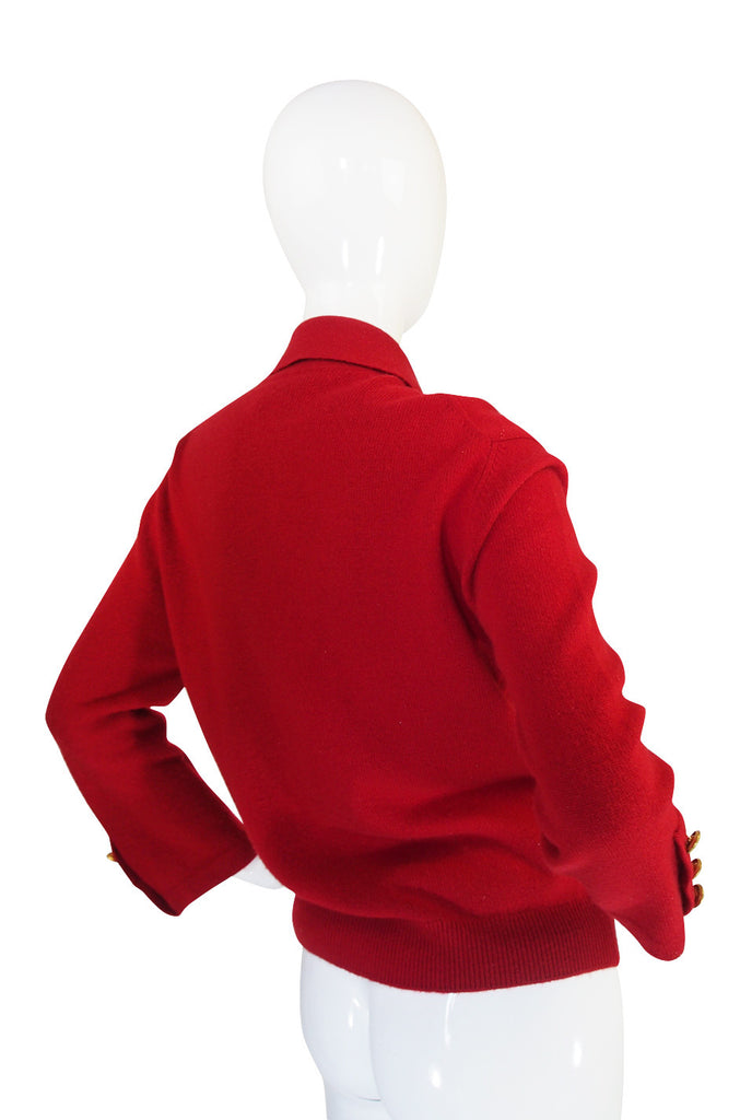 1990s Red Cashmere Chanel Cardigan Sweater