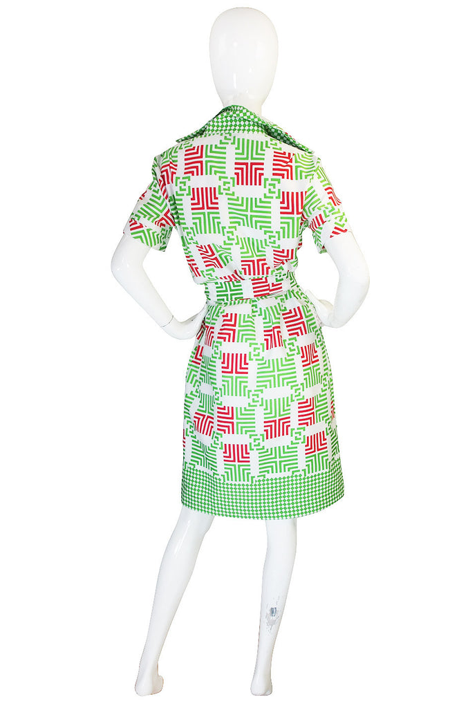 1970s Fun Lanvin Logo Print Shirt Front Dress