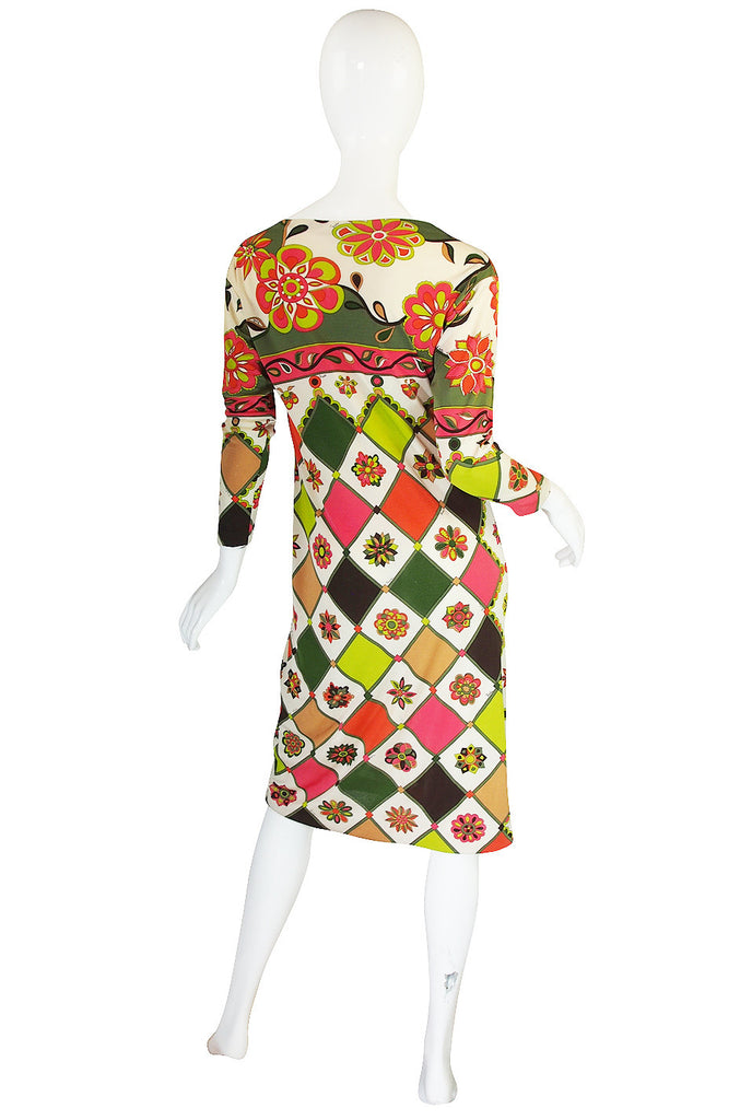 1960s Geometric & Floral Emilio Pucci Shift Dress