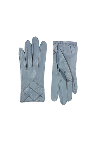 1980s Beautiful Blue-Grey Quilted Chanel Gloves Sz 7.5