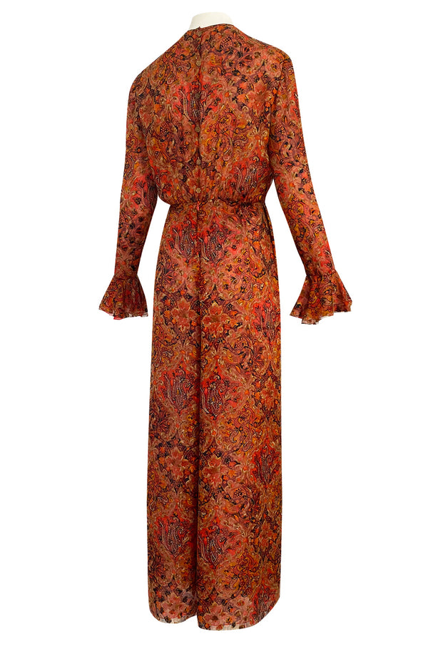 Late 1970s James Galanos Printed Rust & Coral Silk Chiffon Jumpsuit w Extra Wide Slit Pant Legs