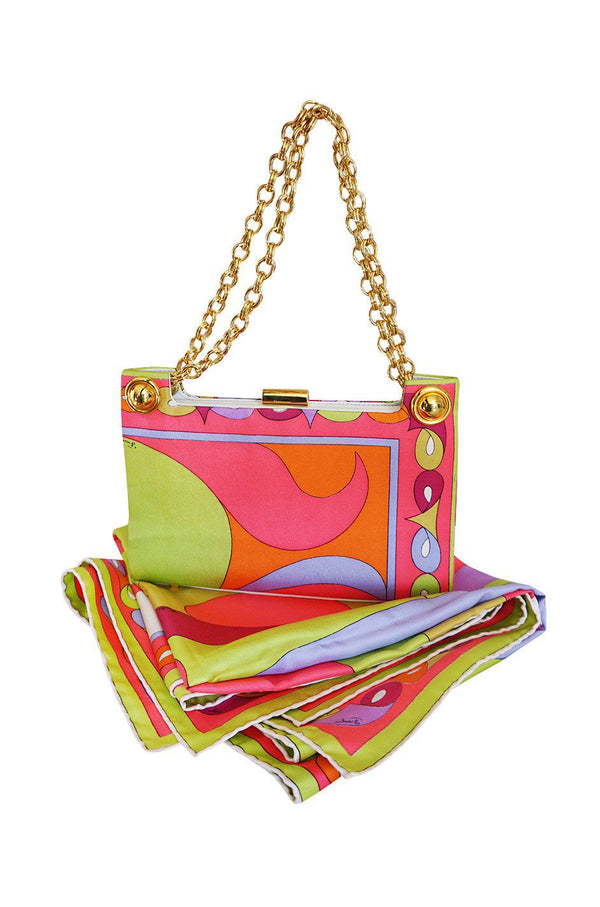 1960s Emilio Pucci Bright Pink Colorful Printed Bag & Matching Silk Scarf - 25% OFF TAKEN AT CHECKOUT