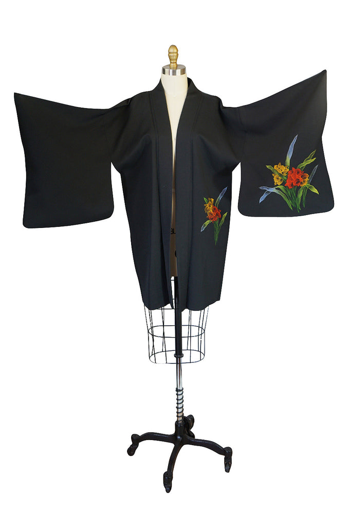 1950s Floral Hand Painted Black Silk Crepe Kimono