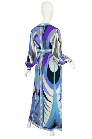 Gorgeous 1970s Purple & Blue Silk Jersey Pucci Caftan Dress