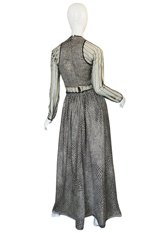 1970s Geoffrey Beene Couture Gold Metallic Lurex & Net Print Dress