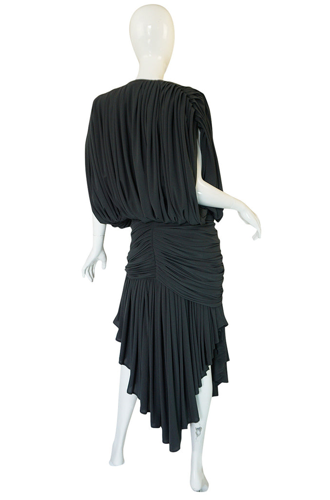 1980s Gray Norma Kamali Jersey Dress & Shawl Set