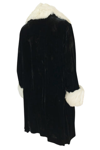 Wonderful 1920s Unlabeled Black Velvet Coat w Ermine Collar & Cuffs