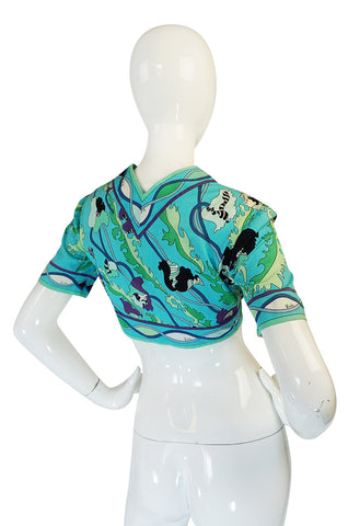 1960s Turquoise Print Cotton Emilio Pucci Cropped Top