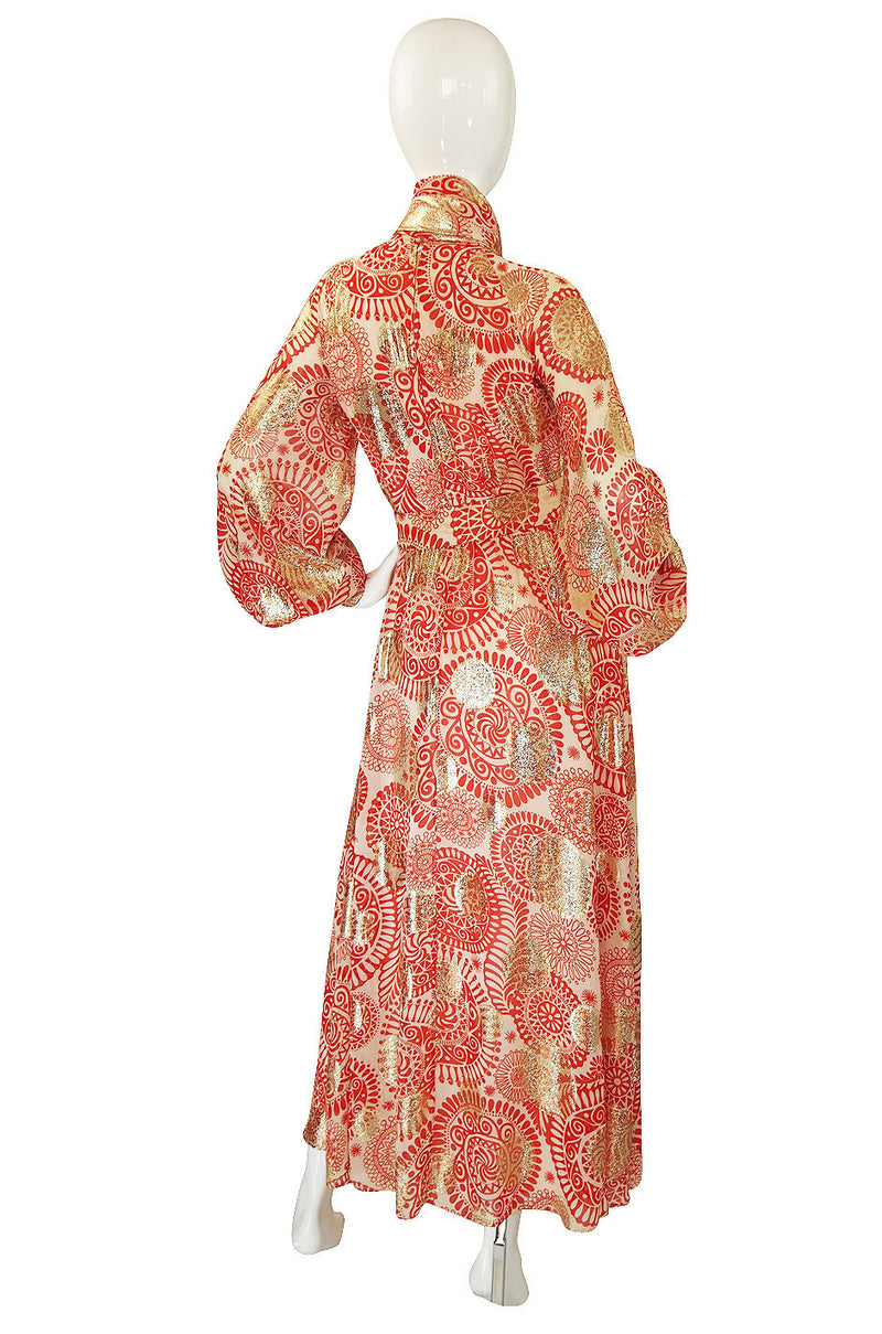 1960s Malcolm Starr Red Metallic Maxi Dress