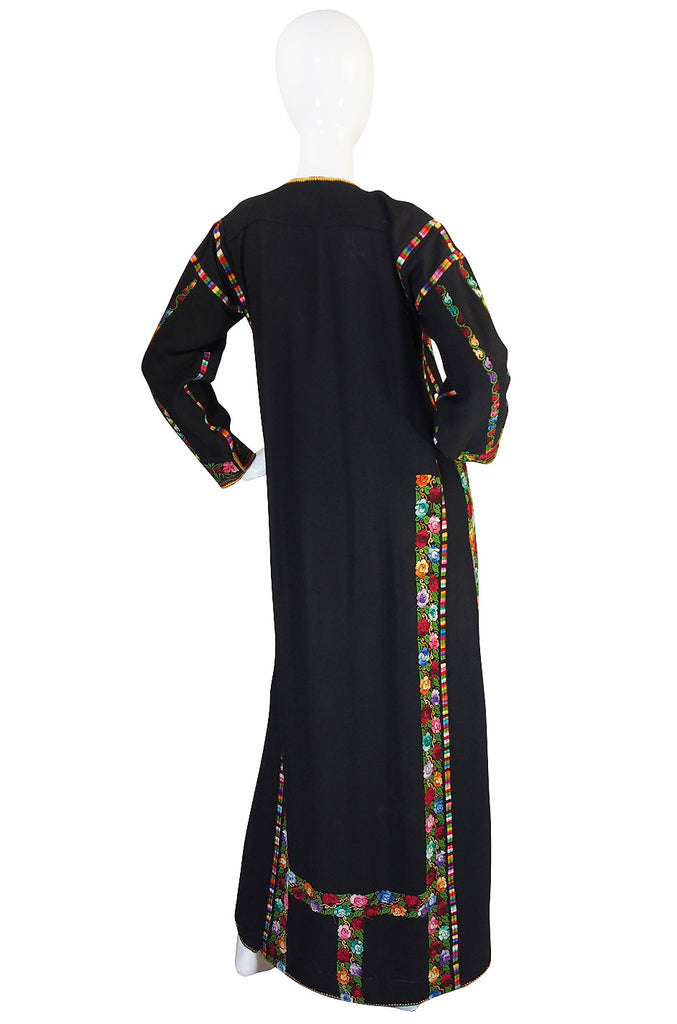 1960s Bright Thread Hand Embroidered Black Caftan