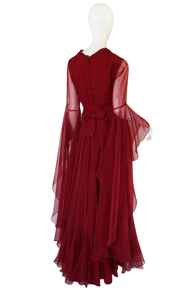1960s Angel Sleeve Deep Burgundy Chiffon Dress