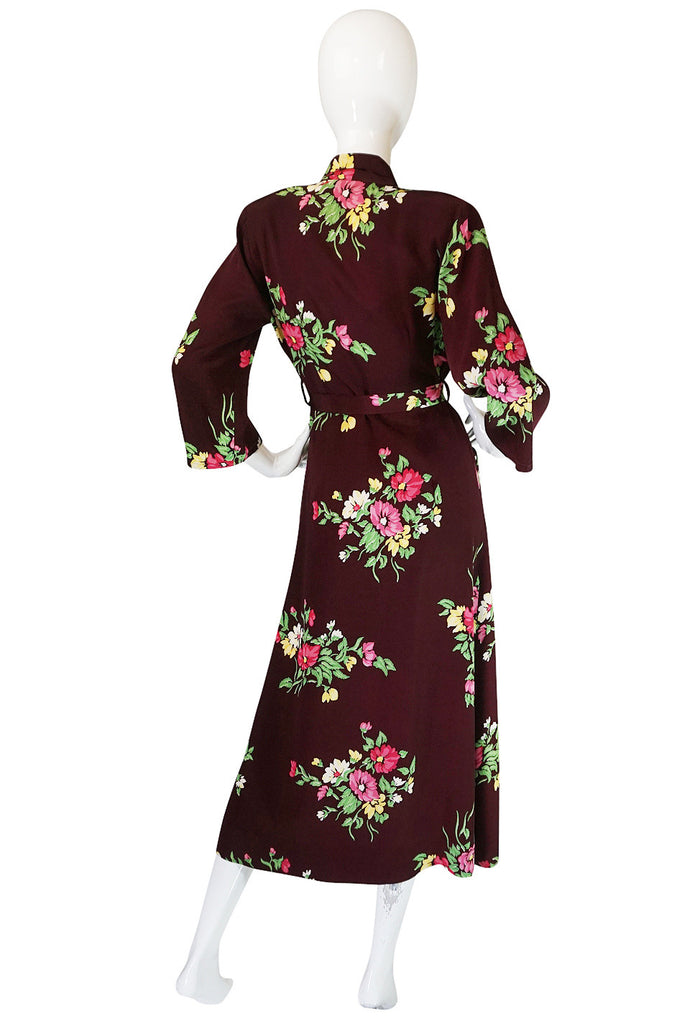 1940s Printed Floral Rayon Wrapped & Belted Day Dress