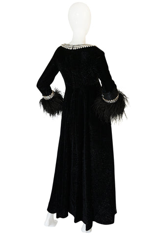 1960s Lame Velvet, Feather & Heavy Rhinestone Dress