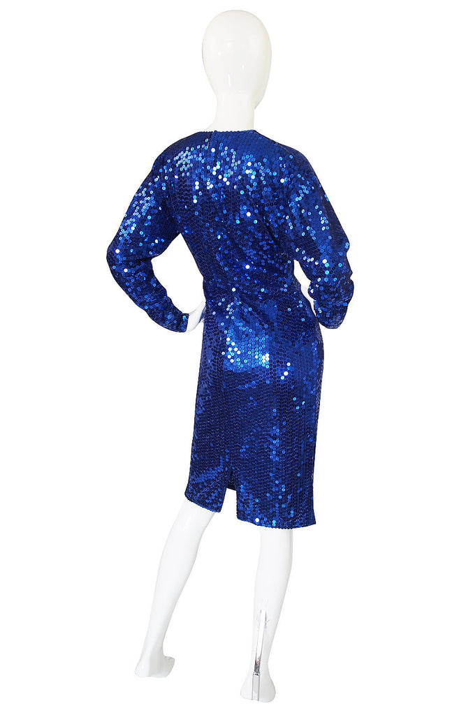 1980s Oleg Cassini Blue Sequin Dress