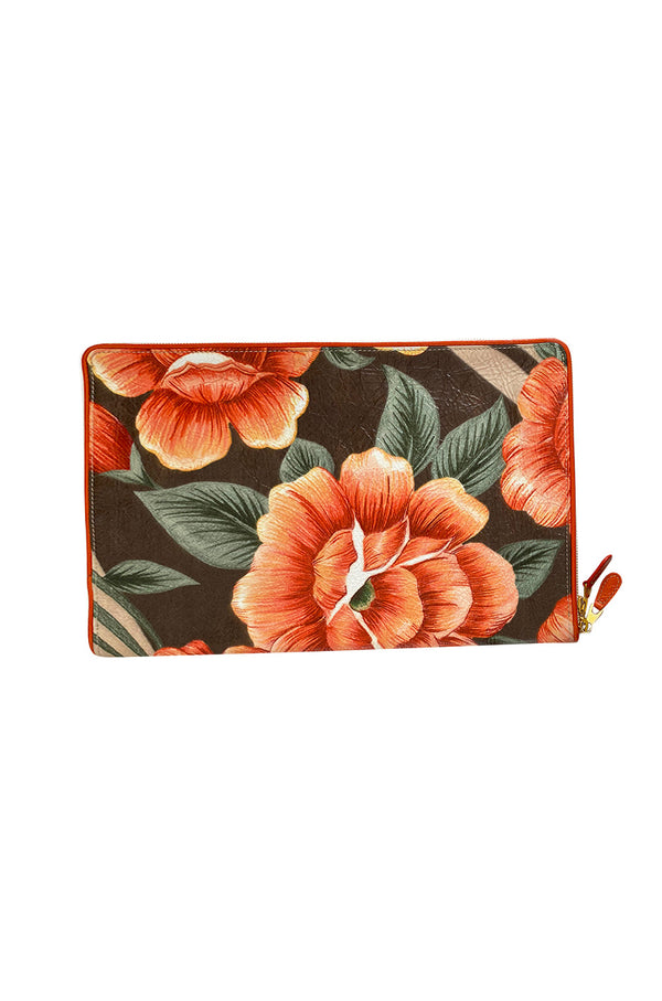 Spring 2017 Balenciaga Orange Blanket Flower Print Flat Large Clutch Bag