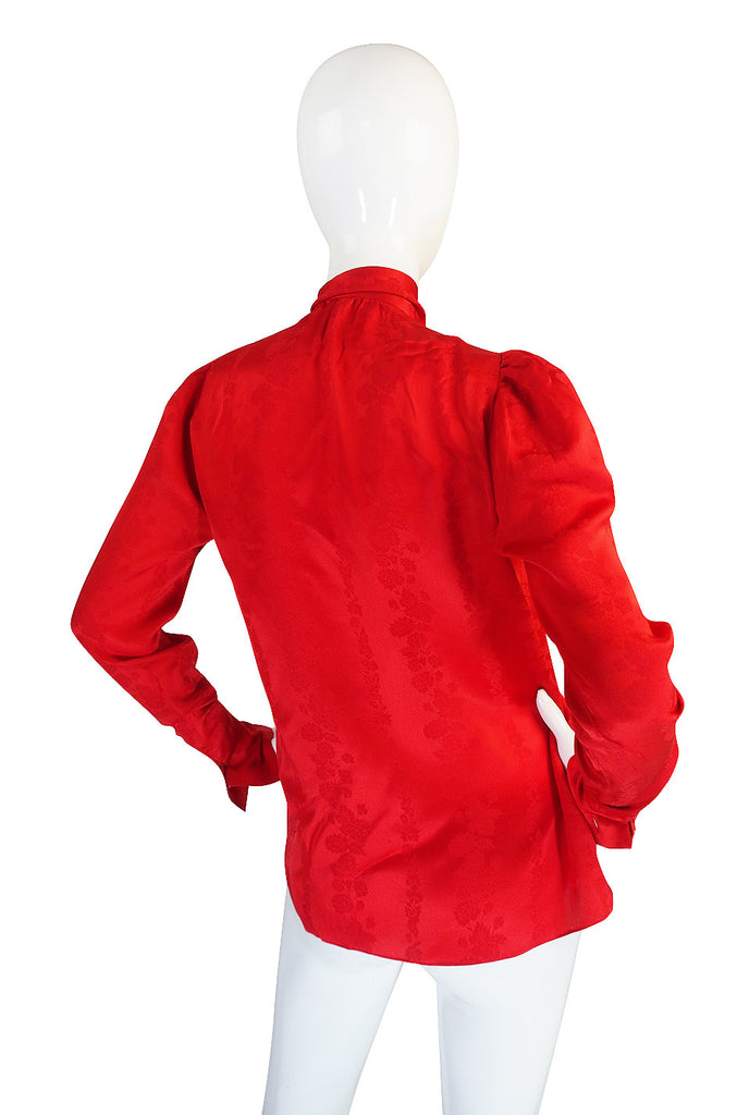 1979 Yves Saint Laurent Haute Couture Red Silk Top