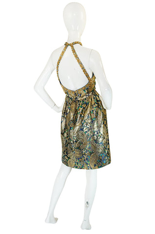 1960s Studded & Embellished Metallic Backless Dress