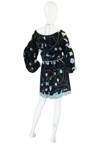 1960s Black & Soft Turquoise Silk Jersey Pucci Dress