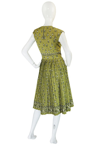 1950s Carolyn Schnurer Knife Pleated Cotton Print Dress