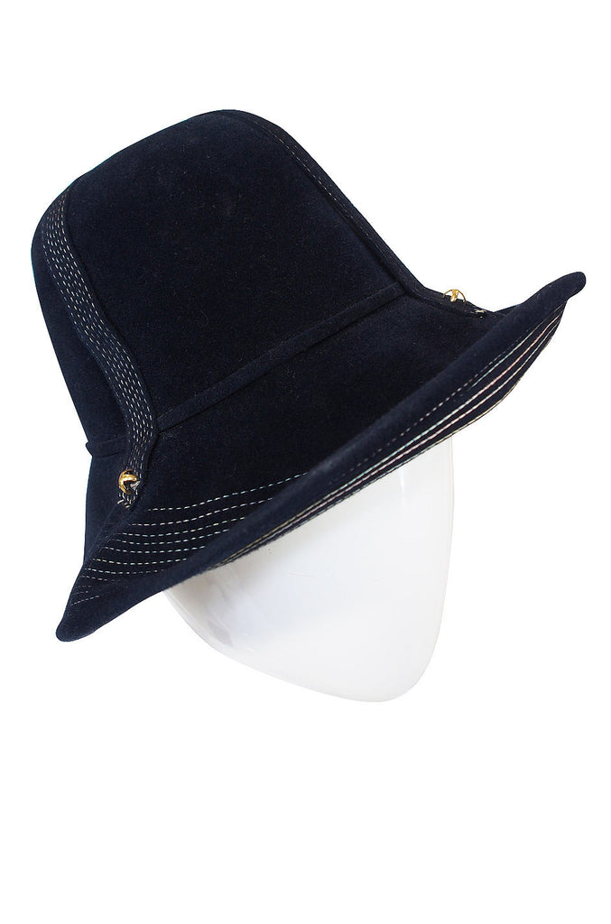 1970s Yves Saint Laurent Chic Blue Felt Fedora Hat
