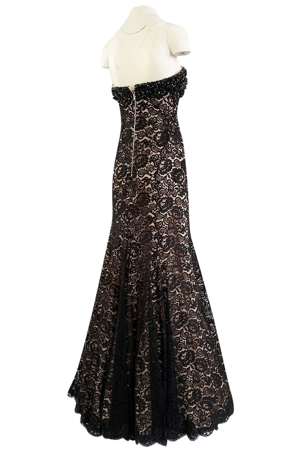 Bespoke 1990s Isaac Mizrahi Couture Strapless Crystal Beaded & Black Lace Over Nude Silk Dress