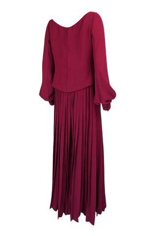 1970s Pierre Balmain Haute Couture Deep Red Silk Pleat Dress