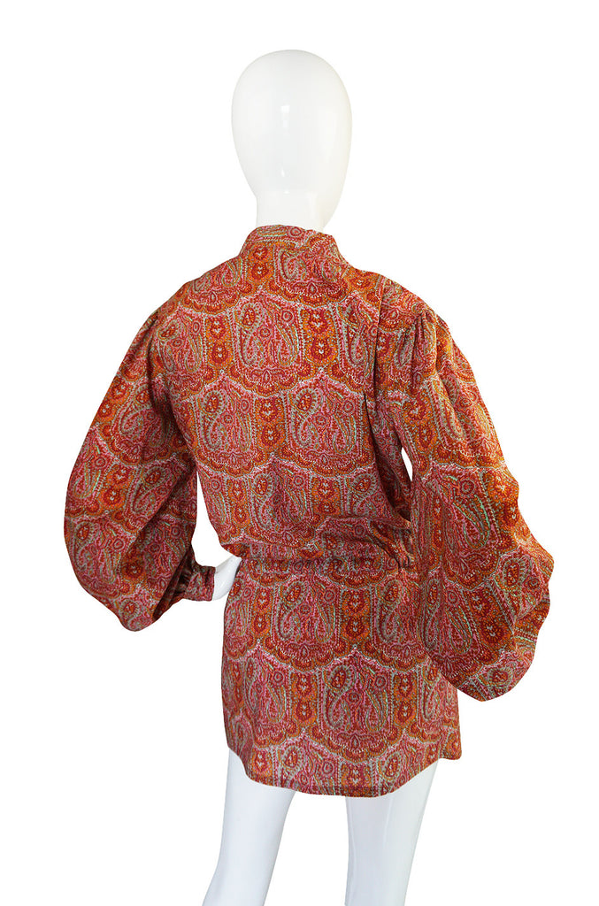 1970s Yves Saint Laurent Paisley Print Challis Tunic Top