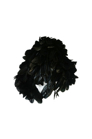 Vintage Renata Originals Elaborate Black Feather Hood Hat