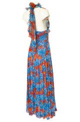Spectacular c.1978 Valentino Blue & Coral Floral Silk Halter Backless Dress