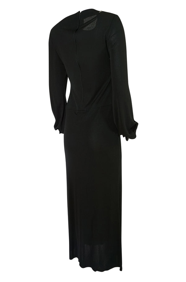 1970s John Anthony Demi-Couture Black Silk Jersey Dress w Hand Beaded Birds