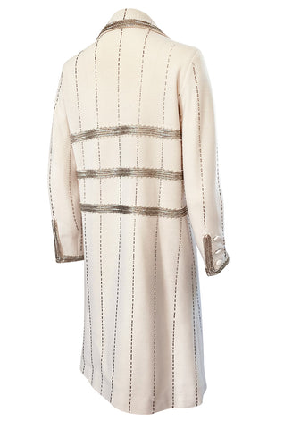 1960s Unlabeled Mr. Blackwell Beaded Ivory Wool Jersey Coat