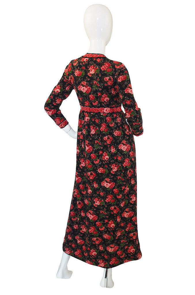 1960s Printed Goldworm Maxi Dress