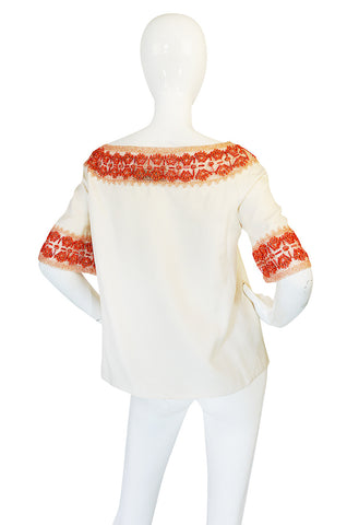 1990s Valentino Coral Beading on Net Cream Silk Top