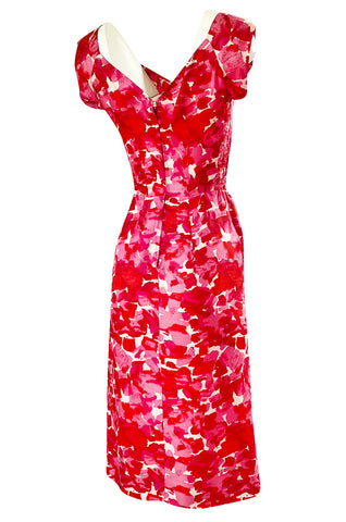 1940s Peggy Wood Pink Printed Silky Rayon Crepe Hawaiian Sarong Dress