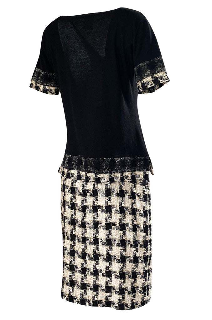 2005 Cruise Chanel Classic Boucle Skirt & Black Cashemere Top Set