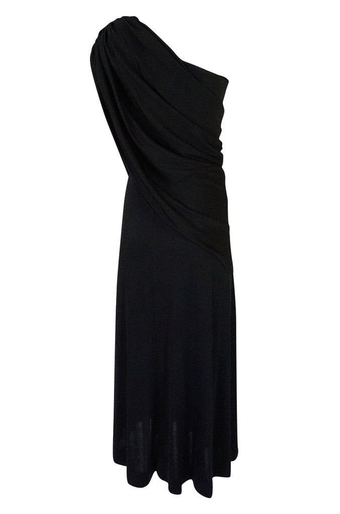 1970s Joy Stevens Black Jersey Draped One Shoulder Dress