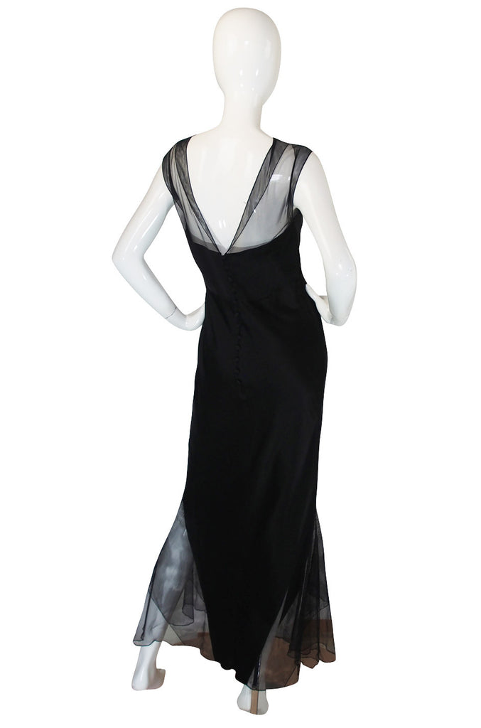 1994 Karl Lagerfeld Silk & Net Bias Cut Dress