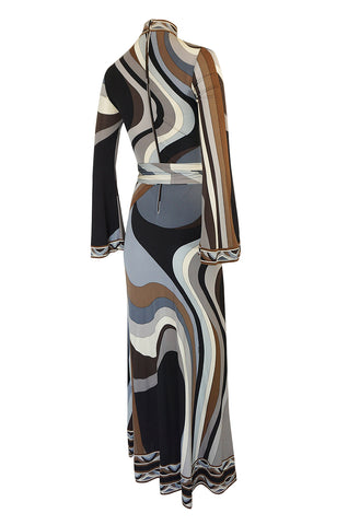 Gorgeous 1970s Leonard Swirling Print Silk Jersey Maxi Dress