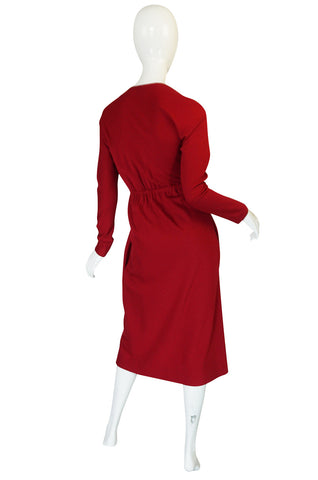 1970s Halston Deep Red Wool Jersey Wrap Dress