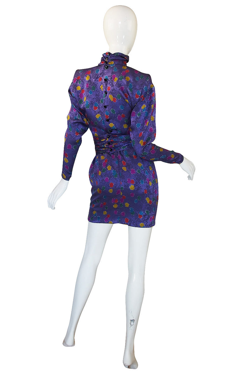1980s Ungaro Multi Color Dot Silk Mini Dress