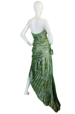 Incredible 1980s Green & Gold Silk Metallic Ungaro Dress