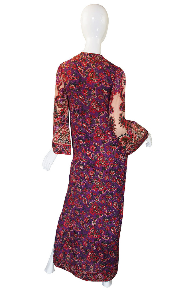 1960s Treacy Lowe Indian Silk Caftan Dress