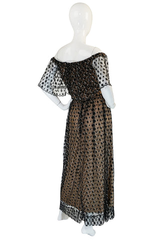 1970s Jean Louis Dotted Net & Silk Off Shoulder Dress