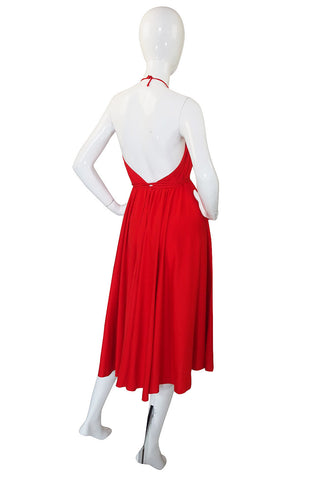 1978 Collection Rare Backless Red Halston Dress