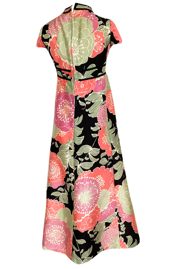 Late 1960s Malcolm Starr Prettiest Huge Pastel Floral Print Silk Dress
