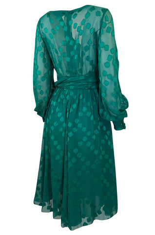 A/W 1973 Christian Dior Haute Couture Stunning Green Silk Chiffon Dress