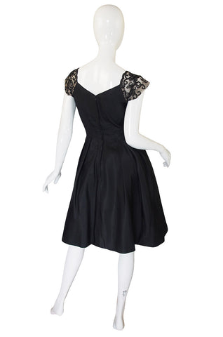 1950s Silk and Net Lace Beaded Cocktail Dress